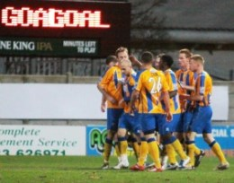Mansfield Town's players celebrate. Pic: Dave Birt