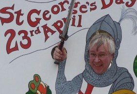 Town Clerk Peter Young prepares for the St George's Day celebrations