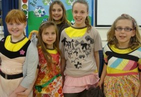 Whittington Brownies with some of their recycled clothing