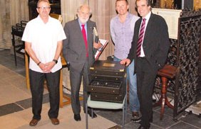 Kevin Wilson, Lord Puttnam, Paul Griffin and Simon Price with the cutlery set