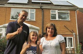 The Williams family celebrate their new solar panels