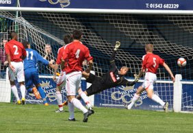 Alex Steadman scores against Stoke City. Pic: Dave Birt