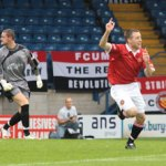 Matthew Wolfenden celebrates putting FC United ahead. Pic: Dave Birt