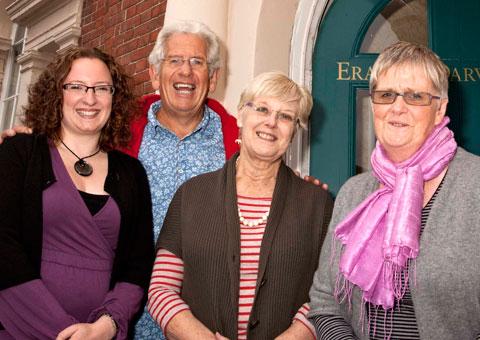 Adam Hart-Davis with representatives from Erasmus Darwin House