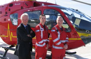 Tom Fanning with crew from the Midlands Air Ambulance in their new flight suits