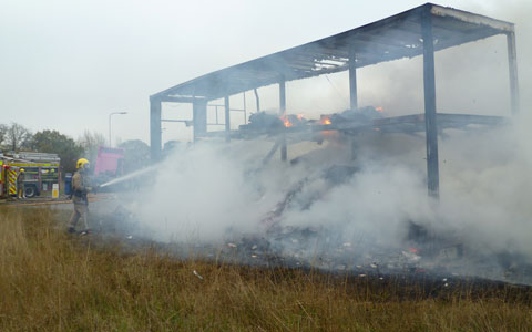 The burnt out lorry trailer