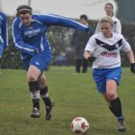Chasetown's Jodie Kinsey tries to close down a Reedswood player. Pic: Pamela Mullins