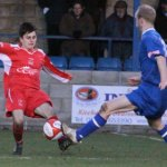 New Chasetown FC signing Caspar Hughes makes a challenge. Pic: Dave Birt
