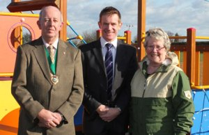 Cllr David Bayliss, Cllr Alan White and Cllr Val Richards at the new playground in Hammerwich