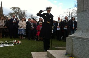 Captain Richard Woodman laying a wreath