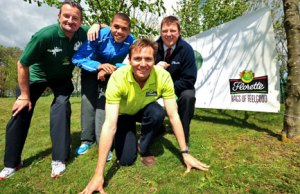 Kevin Wilson from KP Events with last year's winner Elliott Giles, Roger Black MBE and Neil Sanderson from Florette