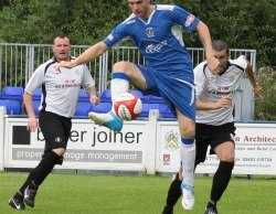 Chasetown's Nick Wellecomme on the ball against Rocester. Pic: Dave Birt