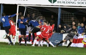 Tim Grice nets a late equaliser to deny Chasetown the win. Pic: Dave Birt