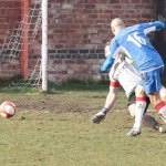 Gary Hay makes it 3-1 to Chasetown at Gresley. Pic: Dave Birt