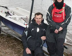 Gareth Brookes, from the Royal Yachting Association, with Chase Sailing Club's Libby Constance