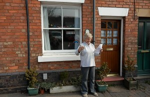 Whittington resident June Thorne celebrates winning an energy makeover