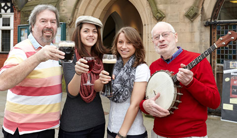 Duncan Rippon, Clementine Amiel, Lilli Schleker and Brian Pretty getting ready for the Summer Beer and Wine Festival. Pic: Robert Yardley Photography