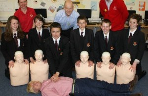 Michael Fabricant finds out about Heartstart techniques from Netherstowe School students
