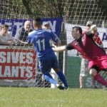 Theo Robinson scores Chasetown's winner against Coalville. Pic: Dave Birt