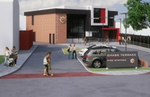 An artist's impression of the new fire station at Chase Terrace