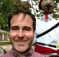 Christopher Pincher with one of the Elford scarecrows