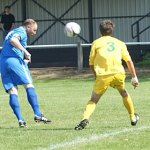 Lichfield captain Todd Perry heads towards goal. Pic: Mick Tyler