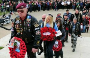 Motorcyclists laying wreaths at the National Memorial Arboretum. Pic: Ride to the Wall