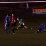 Ashley Sammons scores Redditch's second goal. Pic: Pamela Mullins