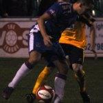 Paul Sullivan keeps a Bedworth United player at bay. Pic: Pamela Mullins