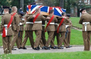 Ian Fisher's coffin is carried into Lichfield Cathedral. Pic: Harry Warburton