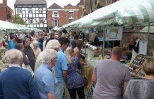 Shoppers enjoying the Lichfield Farmers' Market