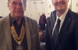 Matthew Ellis with Lichfield St Chad Rotary president Mike Cook