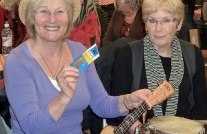 Variety show organisers and ukulele players Polly Dixon and Ann Rowland
