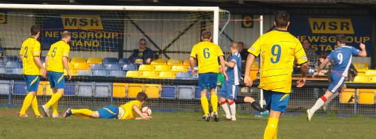 Nick Wellecomme makes it 2-0 to Chasetown. Pic: Dave Birt