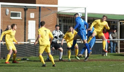 Jon Huckfield sees his header miss the target. Pic: Mick Tyler