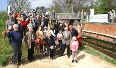 The official opening of a section of the Lichfield Canal Heritage Towpath Trail. Pic: Lichfield and Hatherton Canals Restoration Trust