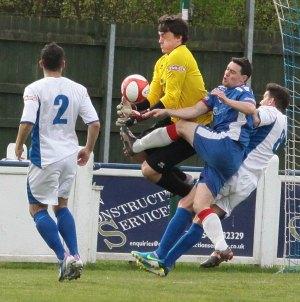 Danny Smith puts the Rainworth keeper under pressure. Pic: Dave Birt