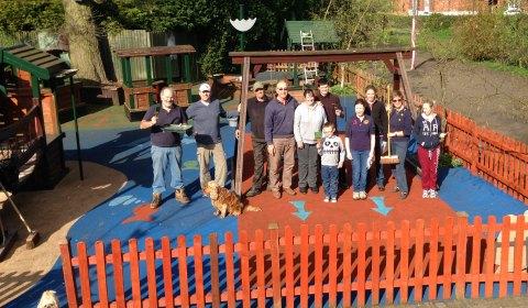 Volunteers in Elford's playground