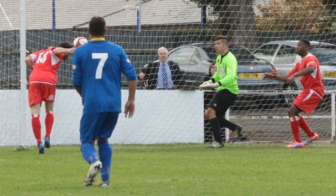 Danny Edwards stoops to score. Pic: Dave Birt