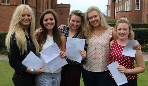 Heidi Thomas, Scarlet Sampson, Lily Hudson, Melissa Kuman and Isabel Clay with their results