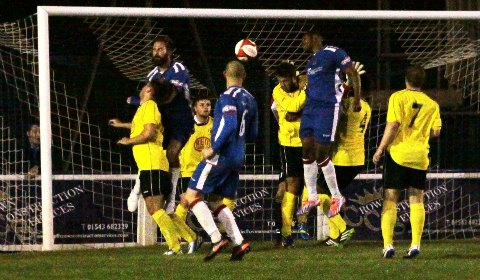 Chasetown equalise as Nathan Waite finds the net. Pic: Dave Birt