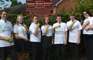 Bradley Brook-Egan, Megan Johnson, Chloe Truman, Tanesha Collinson; Thomas Sabunas, Zachary Reynolds and Melody Robertson wearing their new Upside Online wristbands