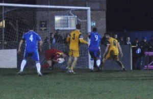 Nathan Waite closes in on the Tividale goal. Pic: Pamela Mullins