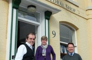 Simon Price, Cathedral Shop manager Anne Waller and Jason Dyer outside the Cathedral Shop