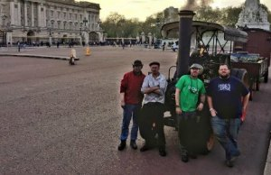 The steam tractor team outside Buckingham Palace