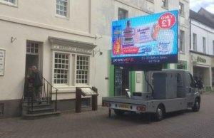 The mobile screen advertising Poundworld. Pic: Nigel Adie
