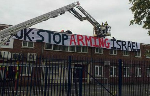 Protesters on the roof of UAV Engines in Shenstone
