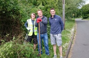 Cllr Ben Rayner (right) with two of the Fradley best kept village volunteers