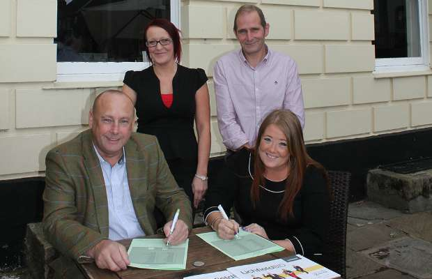 Pub owners and managers Paul Maddox, Leanne Giblin, Isla Whiston and Russell Tomlinson backing the Lichfield BID