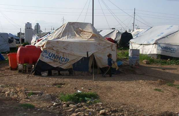 A Syrian refugee camp. Pic: Cmacauley